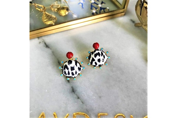 White Leopard Scallop Multi Turquoise Earring - Red