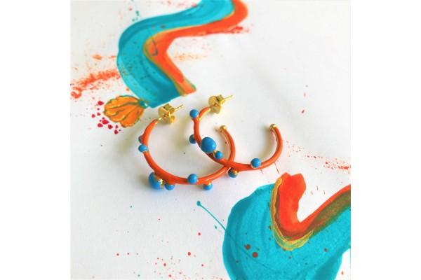 Bodrum Hoop Earring - Coral