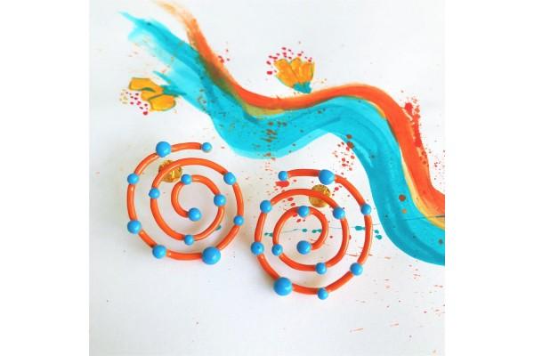 Bodrum Spiral Circular Earring - Coral