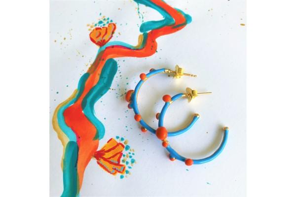 Bodrum Hoop Earring - Turquoise