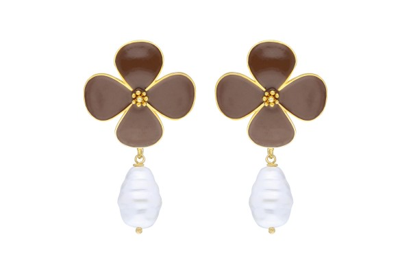 BEAUTY EARRING WITH PEARL - BROWN ENAMEL