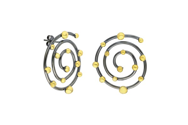 BUDS SPIRAL EARRING - BLACK RHODIUM & GOLD