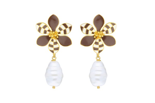 HARMONY EARRING WITH PEARL - BROWN & WHITE ENAMEL