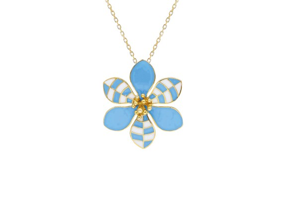 HARMONY NECKLACE - LIGHT BLUE & WHITE ENAMEL