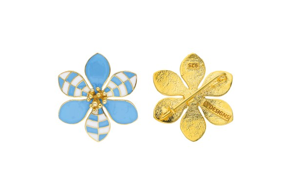 HARMONY BROOCH - LIGHT BLUE & WHITE ENAMEL