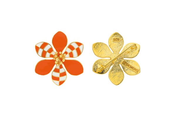 HARMONY BROOCH - ORANGE & WHITE ENAMEL