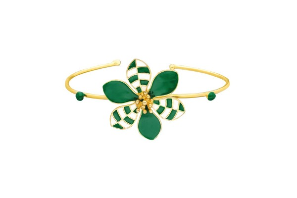HARMONY BANGLE - DARK GREEN & WHITE ENAMEL