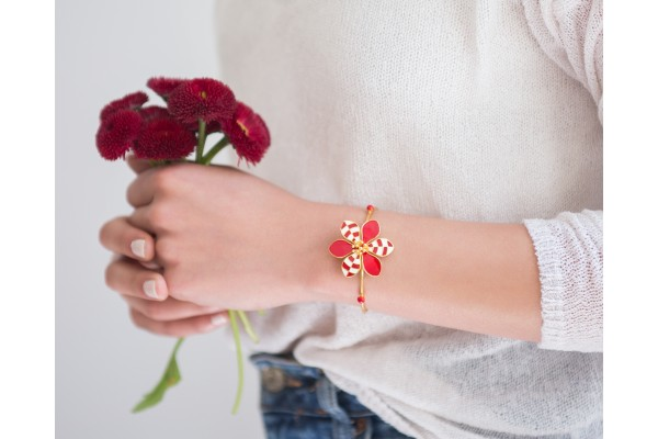 HARMONY BANGLE - RED & WHITE ENAMEL