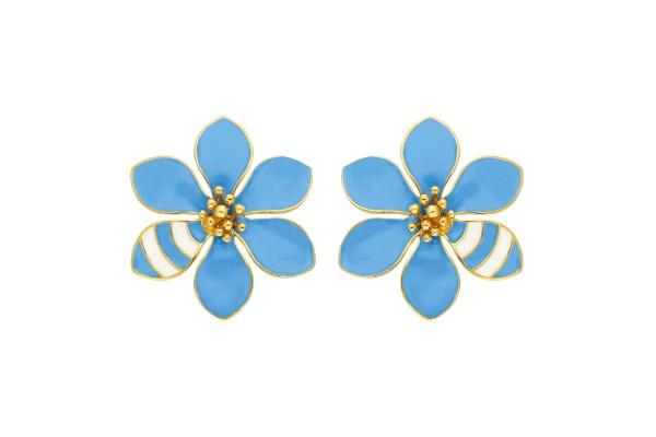 JOY EARRING - LIGHT BLUE & WHITE ENAMEL