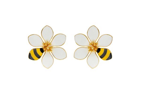 JOY EARRING - BEE & WHITE ENAMEL