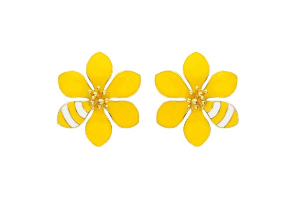 JOY EARRING - YELLOW & WHITE ENAMEL
