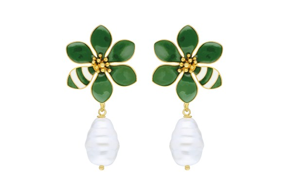 JOY EARRING WITH PEARL - KHAKI & WHITE ENAMEL
