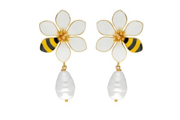 JOY EARRING WITH PEARL - BEE & WHITE ENAMEL