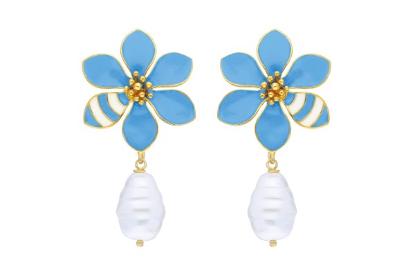JOY EARRING WITH PEARL - LIGHT BLUE & WHITE ENAMEL
