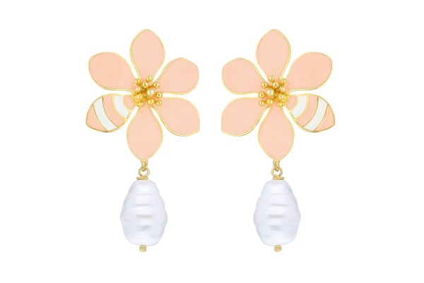 JOY EARRING WITH PEARL - LIGHT SOFT SALMON & WHITE ENAMEL