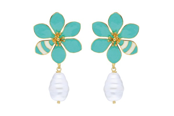 JOY EARRING WITH PEARL - MINT & WHITE ENAMEL