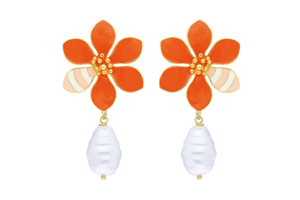 JOY EARRING WITH PEARL - ORANGE & SOFT ORANGE & WHITE ENAMEL