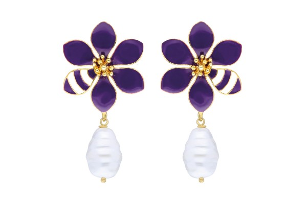 JOY EARRING WITH PEARL - PURPLE & WHITE ENAMEL