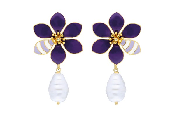 JOY EARRING WITH PEARL - PURPLE & SOFT PURPLE & WHITE ENAMEL
