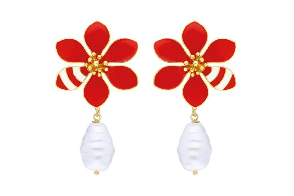JOY EARRING WITH PEARL - RED & WHITE ENAMEL