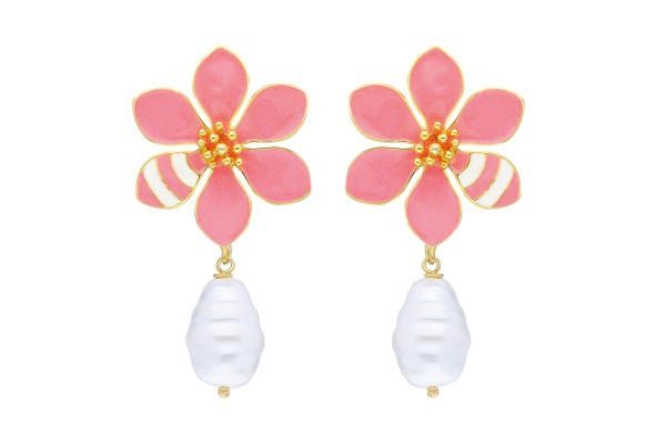 JOY EARRING WITH PEARL - SOFT SALMON & WHITE ENAMEL