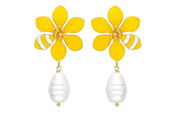 JOY EARRING WITH PEARL - YELLOW & WHITE ENAMEL