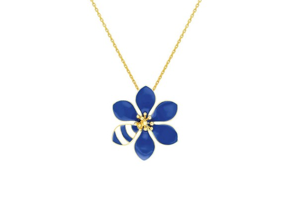 JOY NECKLACE - DARK BLUE & WHITE ENAMEL