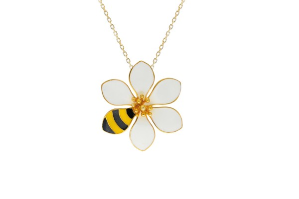JOY NECKLACE - BEE & WHITE ENAMEL