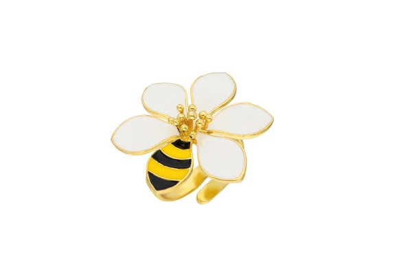 JOY RING - BEE & WHITE ENAMEL