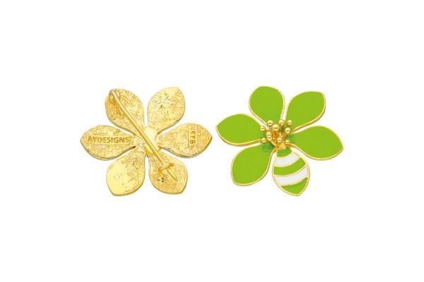 JOY BROOCH - LIGHT GREEN & WHITE ENAMEL