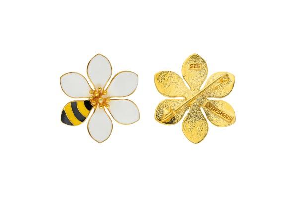 JOY BROOCH - BEE & WHITE ENAMEL