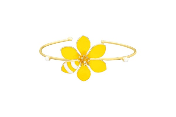 JOY BANGLE - YELLOW & WHITE ENAMEL