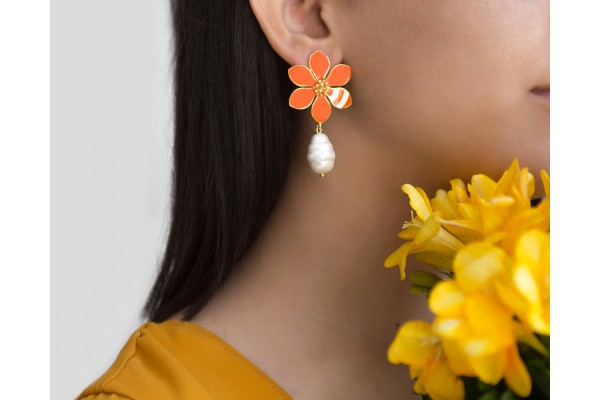 JOY EARRING WITH PEARL - ORANGE & WHITE ENAMEL
