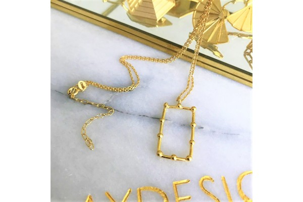 GOLD RECTANGULAR NECKLACE