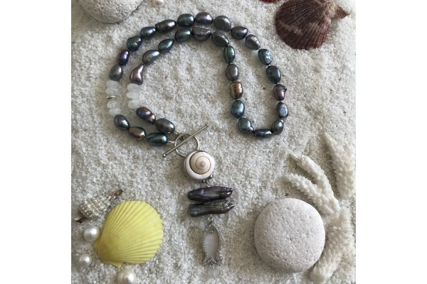 Black Pearl and Moonstone Necklace