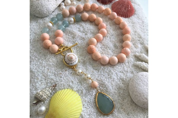 Baby Pink Coral and Aquamarine Necklace