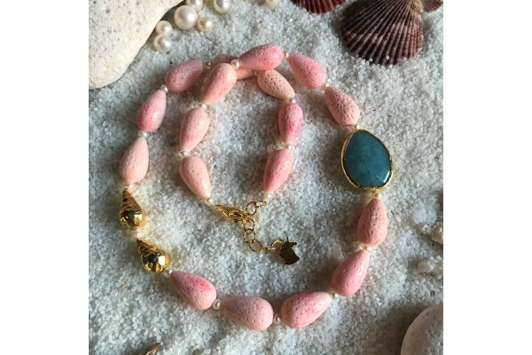 Baby Pink Coral and Blue Jade Necklace