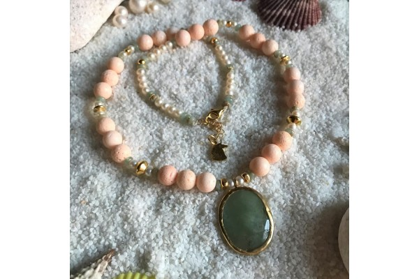 Baby Pink Coral and Jade Necklace