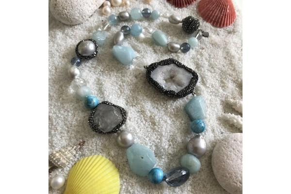 Aquamarine and Quartz Necklace