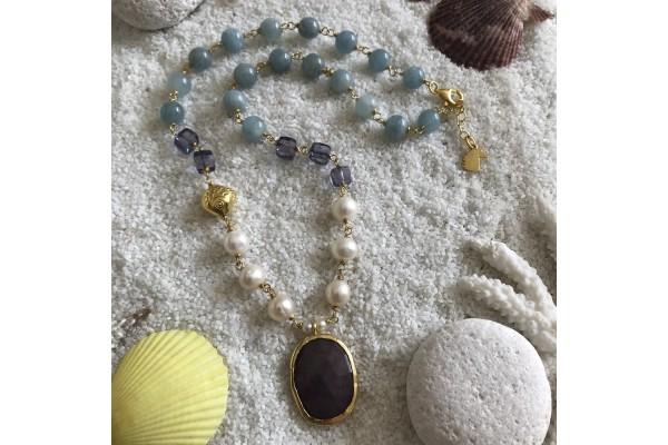 Aquamarine and Sapphire Necklace