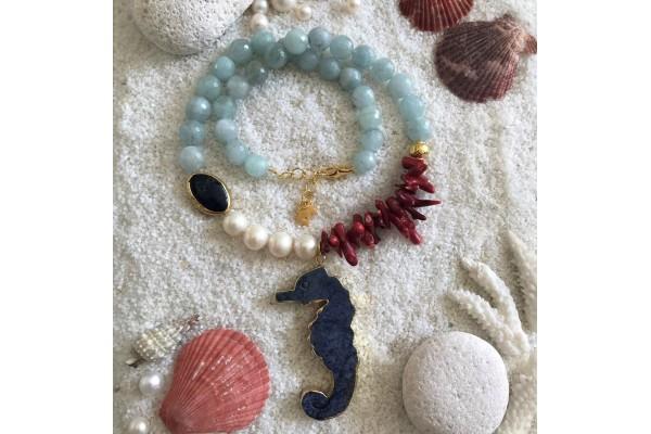 Aquamarine and Seahorse Necklace