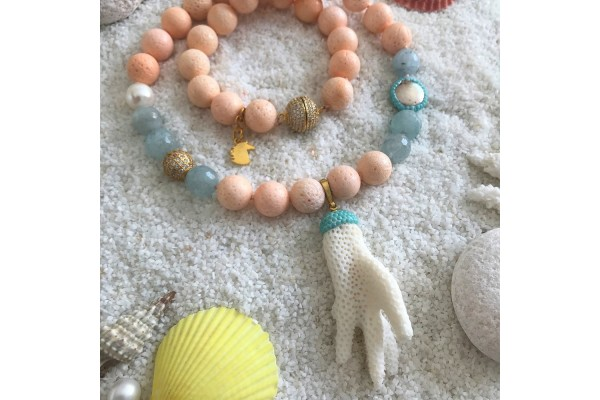 Coral and Aquamarine Necklace