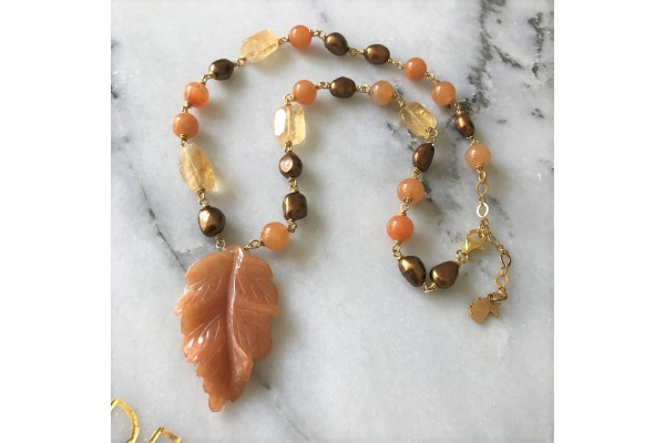Citrine, Pearl and Aventurine Leaf Necklace