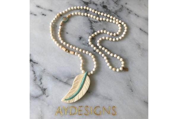 Mother of Pearl and Bone Feather Long Necklace