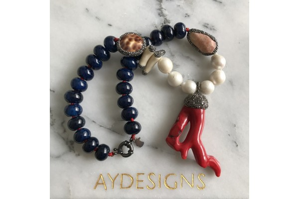 Blue Agate and Coral Necklace - II