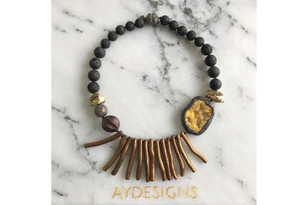 Lava, Golden Color Coral and Druzy Necklace