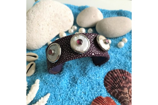Cuff Bracelet with Purple Vatos Fish Leather, Pearl, Tourmaline and Silver