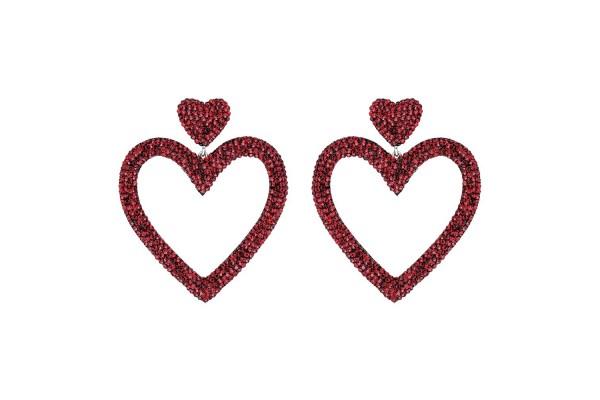 DUAL HEART EARRING - BORDO