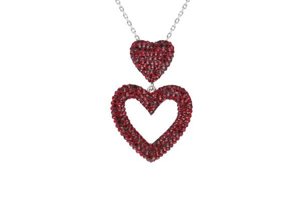 DUAL HEART NECKLACE  - BORDO