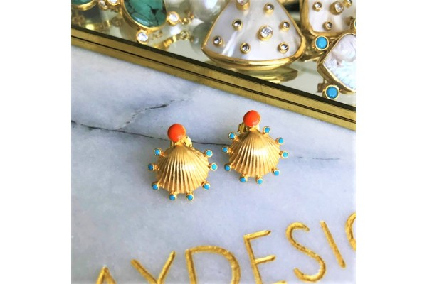 Scallop Multiple Zircon Earring - Coral & Turquoise